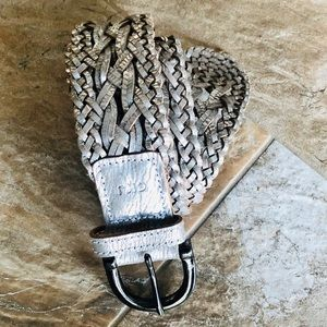 Calvin Klein Silver Metallic Leather Woven Belt